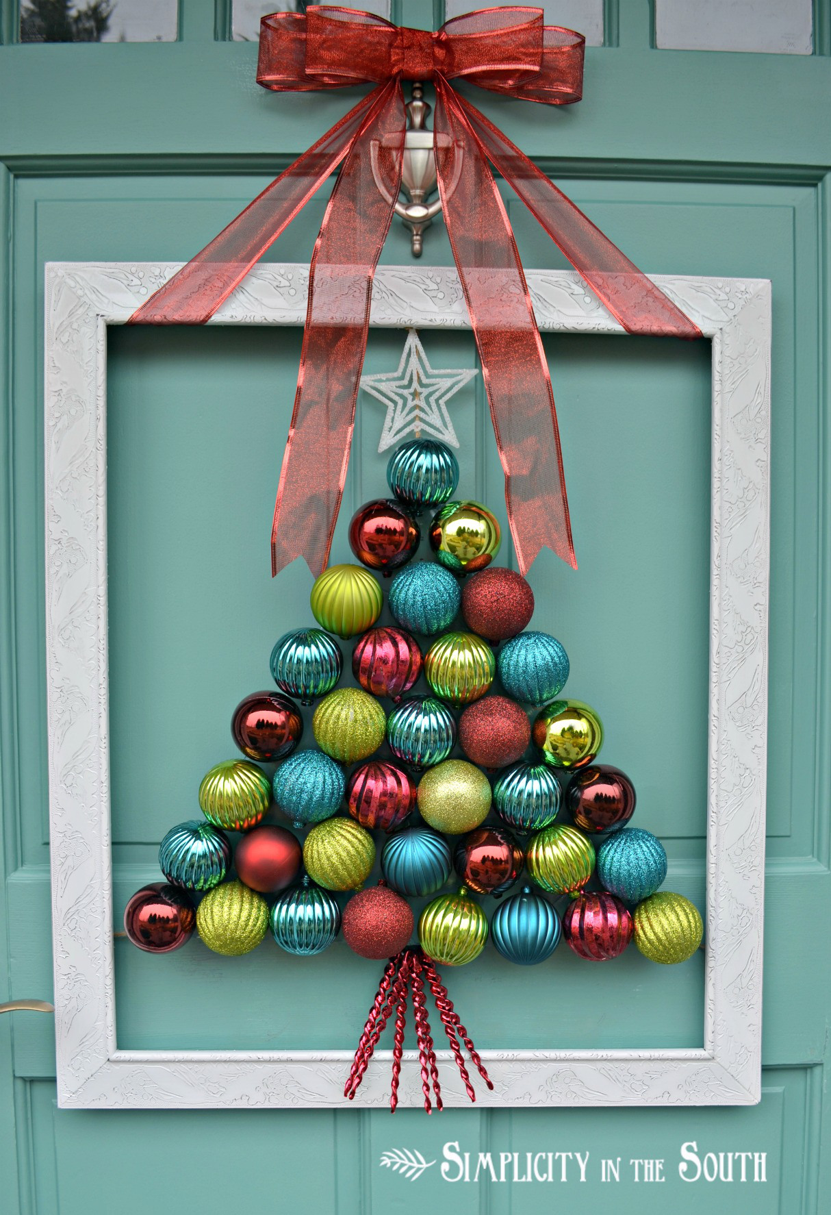 3 ornament wreath ornament wreath source an incredible way to make your christmas door decoration - How To Decorate Your Door For Christmas